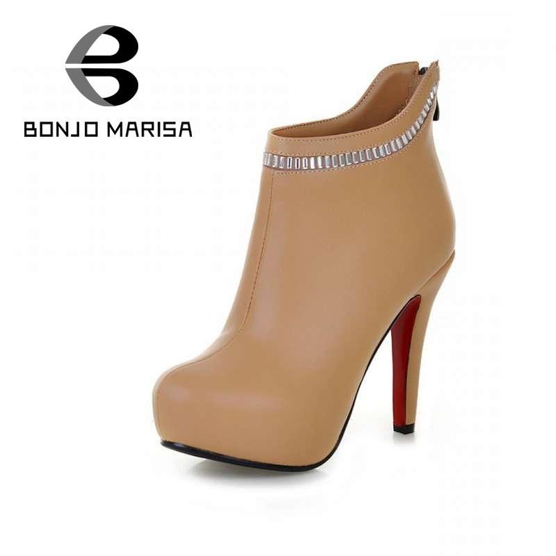 Здесь можно купить  2014 New Sexy Red Bottom High Heels Women Ankle Boots Rhinestone Warm Short Fur Shoes Platform Winter Boots Big size 34-43DM1488  Обувь