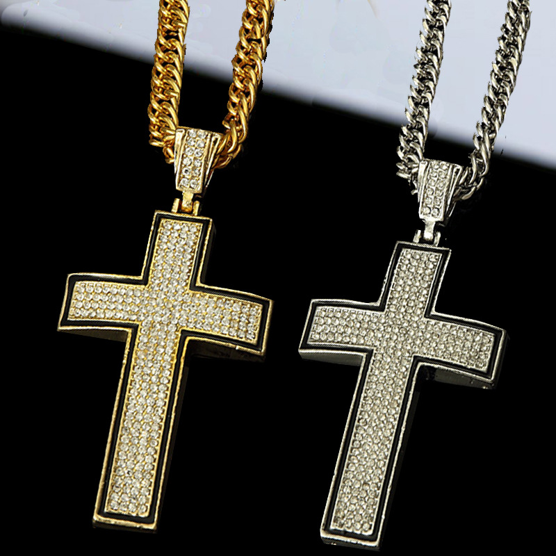 real gold necklace with cross pendant for men colar 24k gold chain Hiphop jewelry punk rock bar club bling bling hip hop jewelry(China (Mainland))