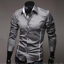 Chemise Homme 11 Colors Men Fashion Long Sleeve Slim Fit Casual Shirts,high Quality Stylish Dress Shirts,size 5xl=us 2xl ,g117(China (Mainland))