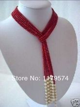 "New Free shipping beautiful fashion Woman jewerly 5MM Charming Red Coral & White Pearl Scarf long Necklace 50""xu112(China (Mainland))"
