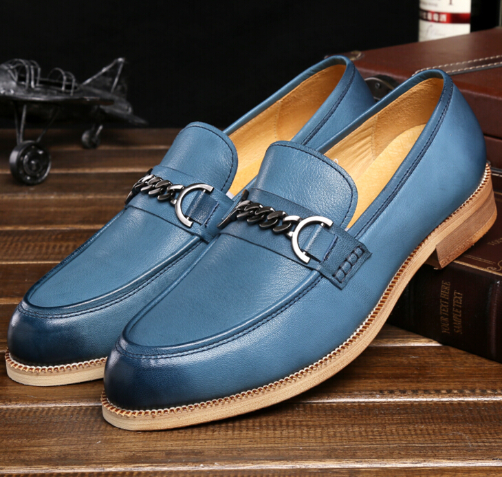 Fashion black/brown /sky blue flats mens dress shoes genuine leather mens casual shoes outdoor mens party shoes free shipping(China (Mainland))