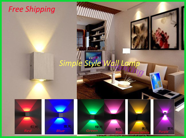 2014 New Modern Style 3W Wall Light AC85-265V Restroom/Bathroom/Bedroom/Reading Decoration Light 7 Colors Free Shipping(China (Mainland))