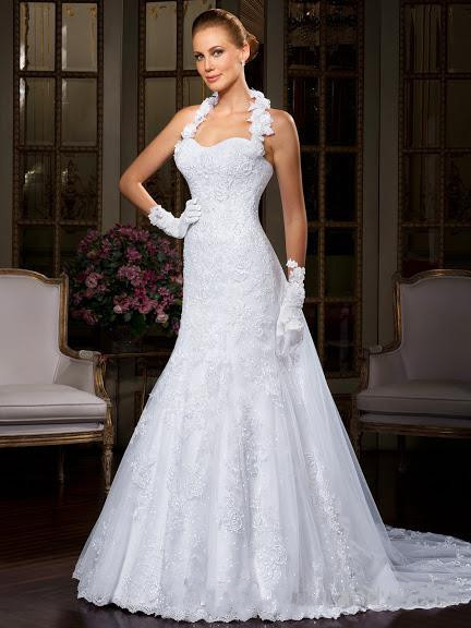 2015 Hot Spring Wedding Gowns Fishtail Halter Lace-up Court Train Hand-Made Flowers Church Mermaid Wedding Dresses for Weddings(China (Mainland))