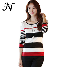 New Women Sweaters 2015 Spring Autumn Winter Pullover Shirt Slim Epaulette Navy Style Stripe Plus Size Knitted Women Sweater 808(China (Mainland))
