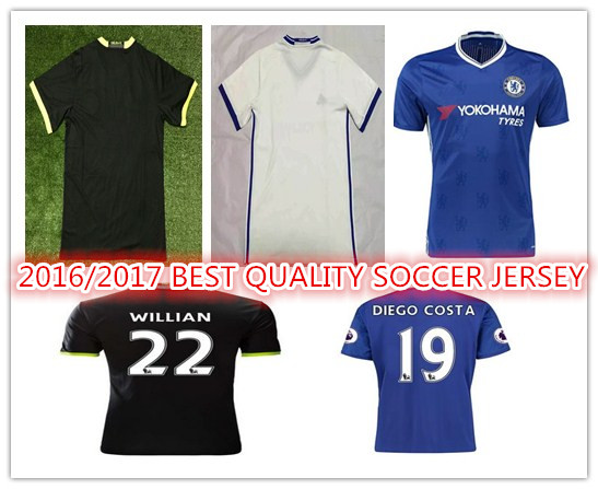 New Top Quality 2016 2017 Chelseaes 16 17 home blue HAZARD DIEGO COSTA CUSTOM shirt free shipping ZZ(China (Mainland))