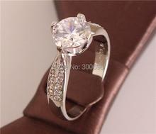 Горячие продажи 1 шт. Посеребренная блестящий элегантный простой стильный дамская ювелирные изделия обручальное кольцо для подарков размер 7-9(China (Mainland))