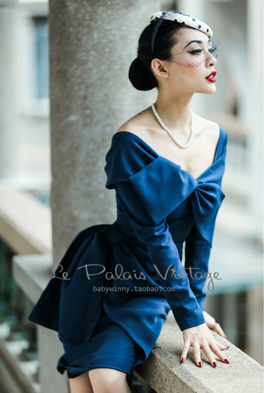 Le Palais Vintage Limited elegant Retro Blue fold butterfly collar slim dress - Palace store