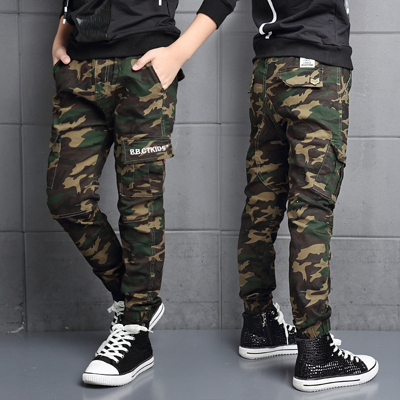 2017 Two Versions Spring boys Camouflage Pants Winter Children Fleece Lining Cotton Uniform Kids Military Army Trousers FH259(China (Mainland))