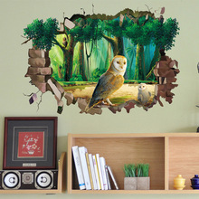 Buy 3D Broken Wall Owl Animal Wall Sticker Living Room Bedroom Kids Rooms Home Decor Wall Decals Birds Tree Sticker Wallstickers for $5.68 in AliExpress store