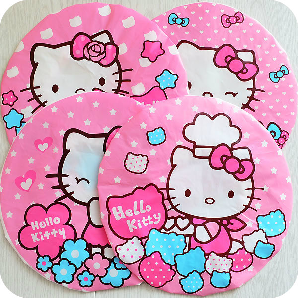 Kawaii Pink Hello Kitty Waterproof Shower Cap Beauty Town Beauty Care Accessories Shower Caps Hotel Shower Hat Dot Bath Hats(China (Mainland))