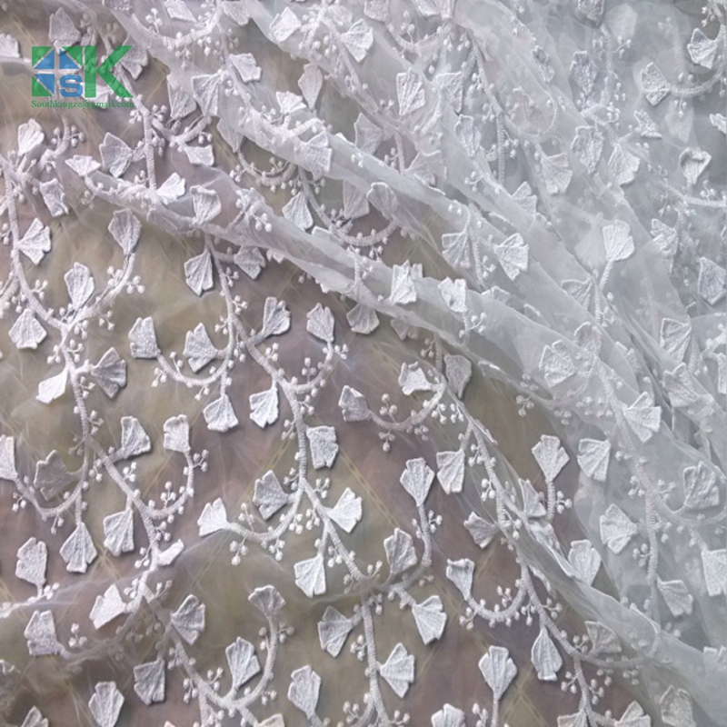 New 2016 SK Lace Fabric Import and export upscale Organza embroidered fabrics Handmade white decals Lei mesh gauze skirt appare(China (Mainland))