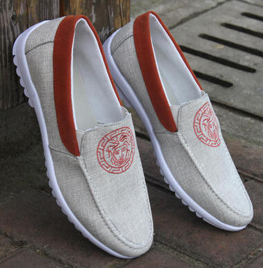 Summer Male Canvas Shoes Lazy Cotton-Made Breathable Flat Shoes Men's Casual Breathable Canvas Shoes Slip On Men Low Loafers 8