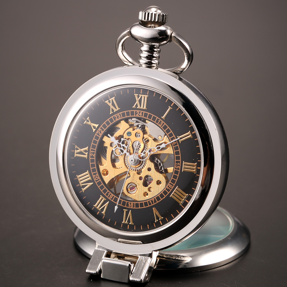 2016 New Unique Men Magnifier Skeleton Vintage Mechanical Pocket Watch with Chain for gift<br><br>Aliexpress