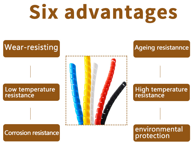 10mm wire Receive power cord make it in perfect order five color spiral bands diameter Cable casing Cable Sleeves Winding pipe