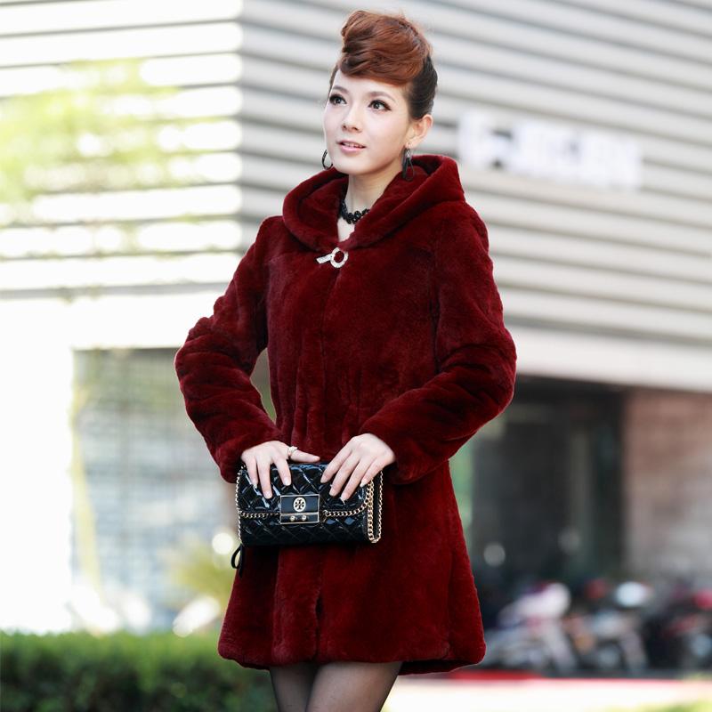 2013 full leather fur rex rabbit hair fur cashmere coat with a hood medium-longОдежда и ак�е��уары<br><br><br>Aliexpress