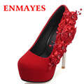 ENMAYES Womens Wedding High Heels Sexy Red Soft Leather Pumps Spring and Autumn Fashion Shoes Woman