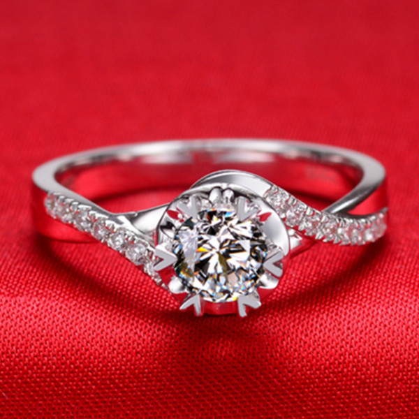 0.45CT Vintage Twist Arms Semi Mount Genuine Moissanite Wedding Ring Pure 18K White Gold Ring For Bride Fine Jewelry(China (Mainland))