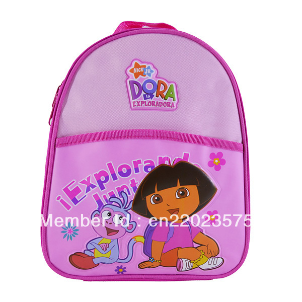 Dora insulated pink PVC printing10inch Baby lunch bag Kids cooler bags, Item No.4622,Free shipping(China (Mainland))