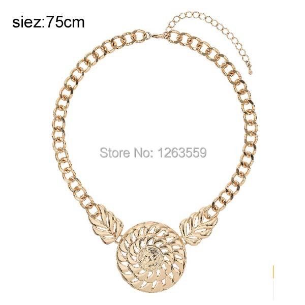 2015 Cheap Newest Gold Necklace Jewelry Fashion Love Forever Alloy Pendant Necklace Wholesale Leaf Queen Head Necklace 21(China (Mainland))