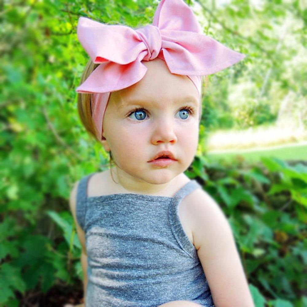 summer big bowknot fabric flower hair head band bows wrap kawaii accessories for baby girl kids turban headband hair ornaments(China (Mainland))
