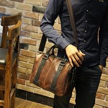 100% genuine leather men bag crazy horse leather  handbags casual business shoulder bag briefcase messenger bag 13inch laptop(China (Mainland))