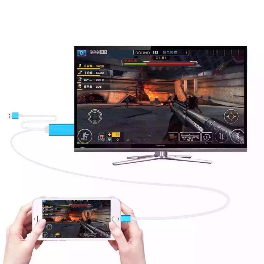 Dock to HDMI HDTV TV Adapter USB Cable 1080P for Apple Air Air2 iPhone 5 5S 6 6S 6PLUS 6S PLUS HDMI Cable()