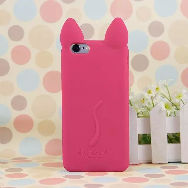 koko cat 3d Cute Soft Silicone Case for iPhone 4 5C 5S 6 6Plus Rubber Phone Cases Covers Cell Phone Accessories