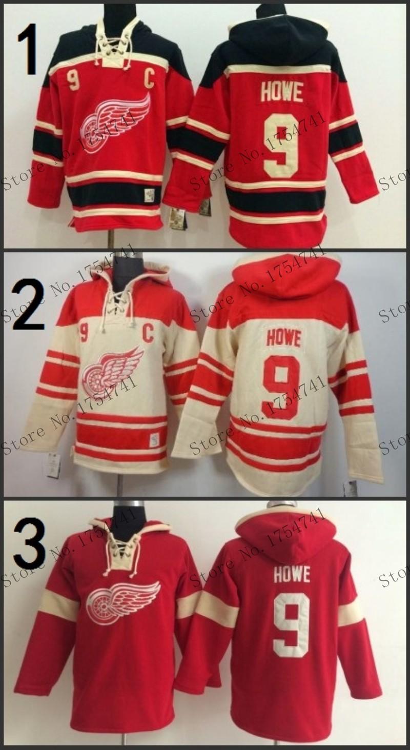 Free Shipp. Detroit Red wings Hoody 9 Gordie Howe Ice Hockey Hoodies/ Hooded Sweatshirt<br><br>Aliexpress
