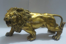 Metal Crafts Collectable home decorations FENG SHUI brass lion sculpture /statue free SHIPPING(China (Mainland))
