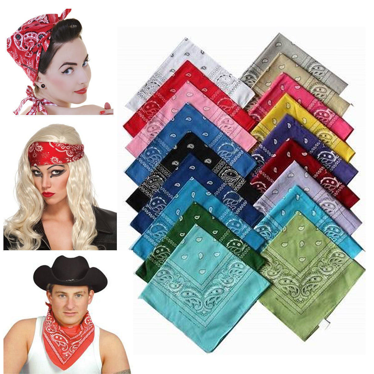 BANDANA Paisley 100% COTTON Head Wrap Headband Durag Bandanna Summer Biker Scarf Mask New(China (Mainland))