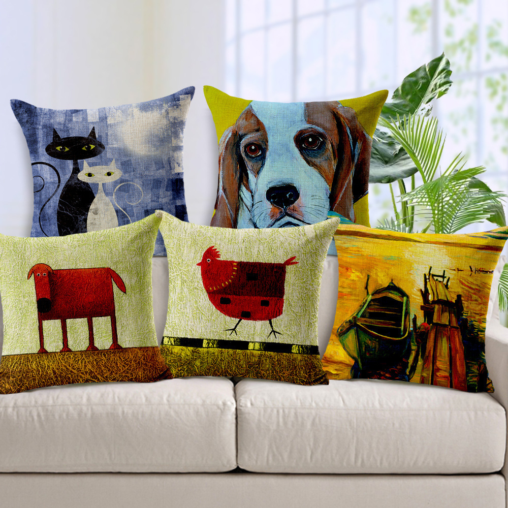2015 Obeny Animal Cushion No Filler Cotton Linen Cushions