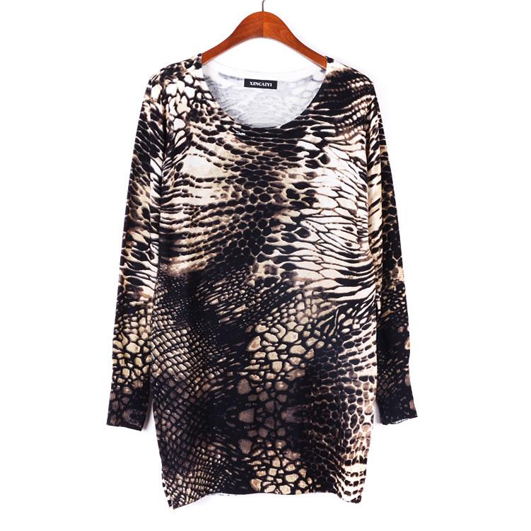 2013 New Fashion Winter Women's Sweater Dress Long pullover Knitted Sweater loose Knitwear Printed Tops plus size WS-092