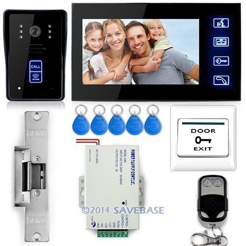 "HOMSECUR 7"" Video Door Phone Doorbell Intercom IR Camera Monitor Electric Strike Lock RFID Keyfobs(China (Mainland))"