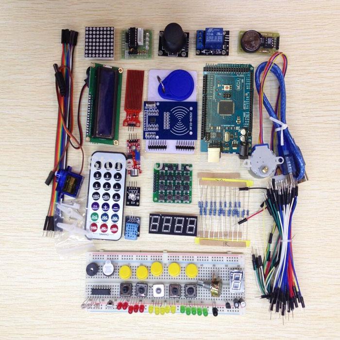 5sets Mega 2560 r3 starter kit motor servo RFID Ultrasonic Ranging relay LCD for arduino uno kit(China (Mainland))