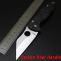 NEWEST Spyderco C85 HUNTING Folding Blade Knife Carbon fiber Handle Tactical Hunting Knife Camping survival Pocket