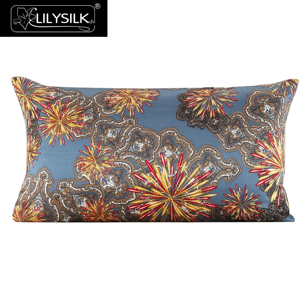 Lilysilk 100% Silk Pillow Cover 16 Momme Firework Pure Mulberry Silk Free Shipping(China (Mainland))
