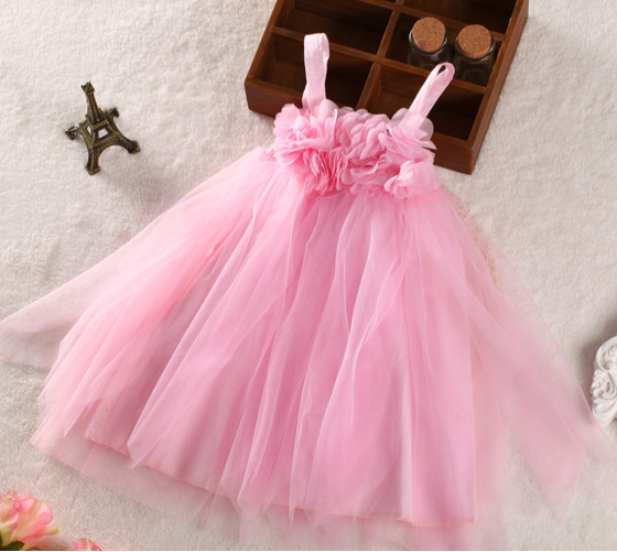 2014 New,girls summer princess dresses,children slip dress,flowers,pink,2-7 yrs,/ lot,,1023