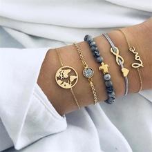 IPARAM bohemio tejido hecho a mano corazón borla pulsera conjuntos 2018 mujeres nueva Grey cuerda pulseras de cadena de joyería de regalo de Navidad(China)