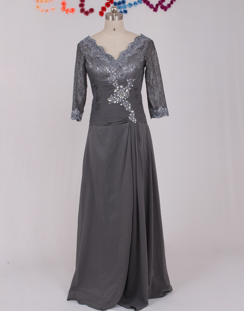 New v neck appliqued chiffon brides mother dresses for for Grey dress wedding guest