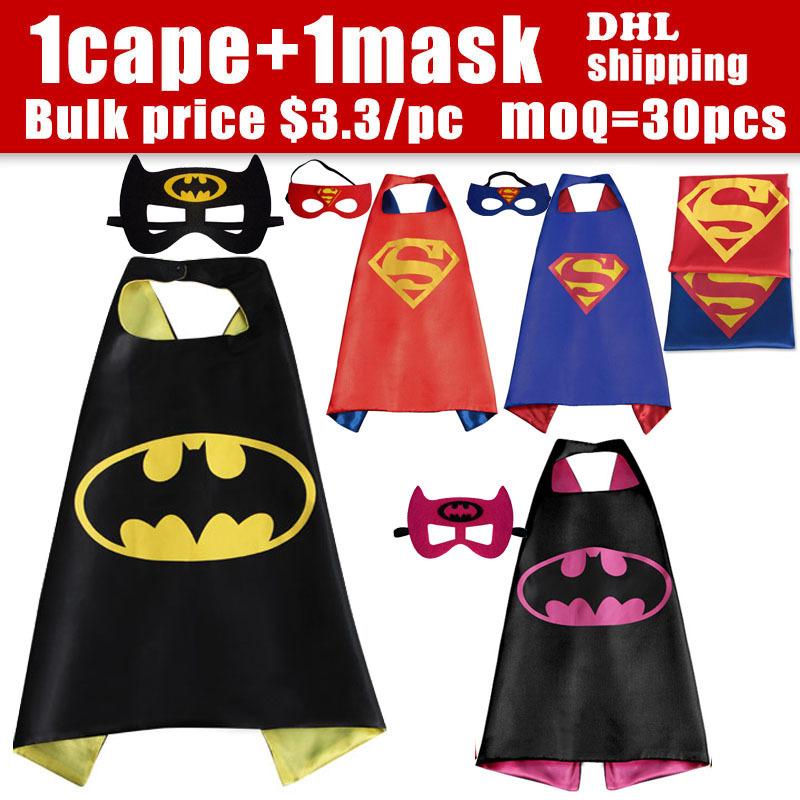 70cm*70cm  1 Cape +1 Mask Halloween capes - Superman Spiderman superhero capes for kids Halloween Party gift Children's Costume(China (Mainland))