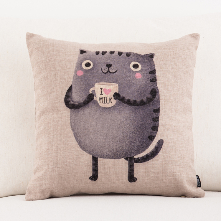 Creative kitten cat cotton linen burlap decorative throw pillow cushion cover case decorate couch sofa chair  -  ninety one store