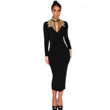 Vestidos Mujer 2015 Autumn Office Sequin Hollow Out Mock Neck Womens Sexy Dresses party Night Club Long Sleeve Midi Dress LC6908(China (Mainland))