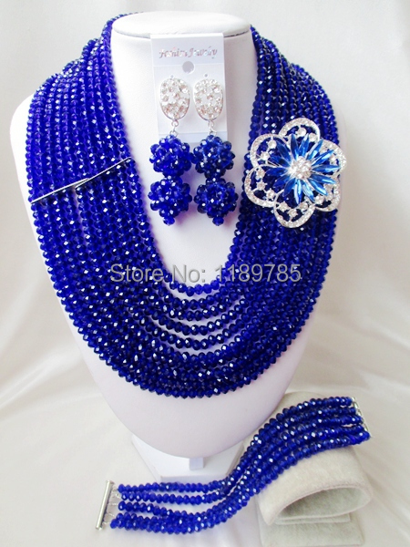 Luxury African Wedding Set Nigerian Crystal Beads necklace Fashion perfect India Women Bridal  Jewelry Set Free Shipping B-13014<br><br>Aliexpress