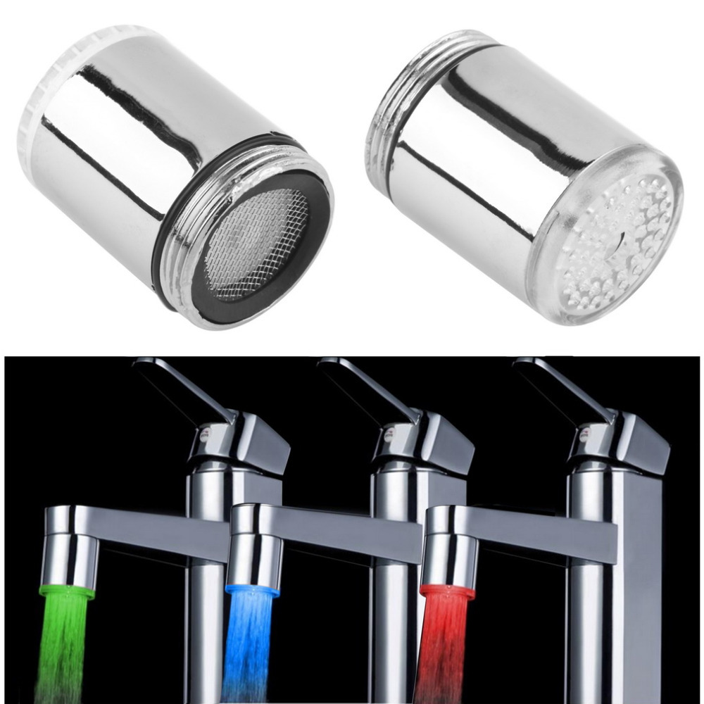 Temperature Sensor 3 Colors LED Faucet Changing Water Shower Head Kitchen Bathroom Multicolor Glow Light Automatic Tap - Shenzhen SuperDeal Technology Co., Ltd. store