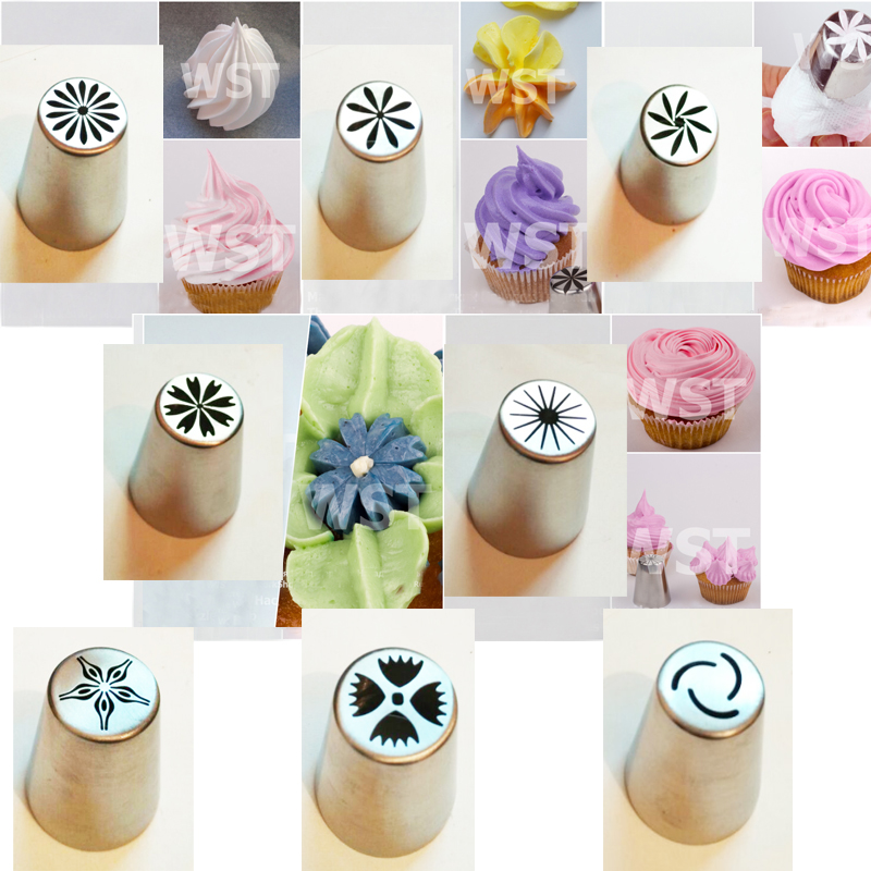 8 PCS Stainless Steel Pastry Nozzles For Cream Russian Icing Piping Tips Cake Decorating Tool Set Baking Accessories(China (Mainland))