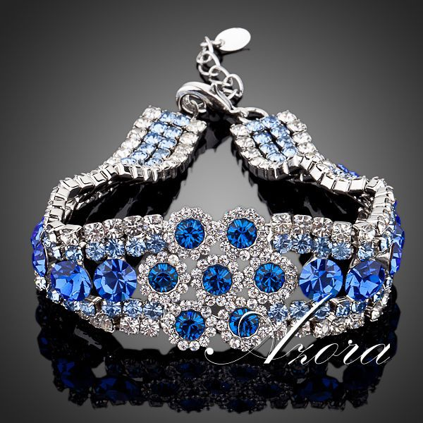 Platinum Plated Full of Blue SWA ELEMENTS Austrian Crystal Flower Design Bracelet FREE SHIPPING!(Azora TS0014)<br><br>Aliexpress