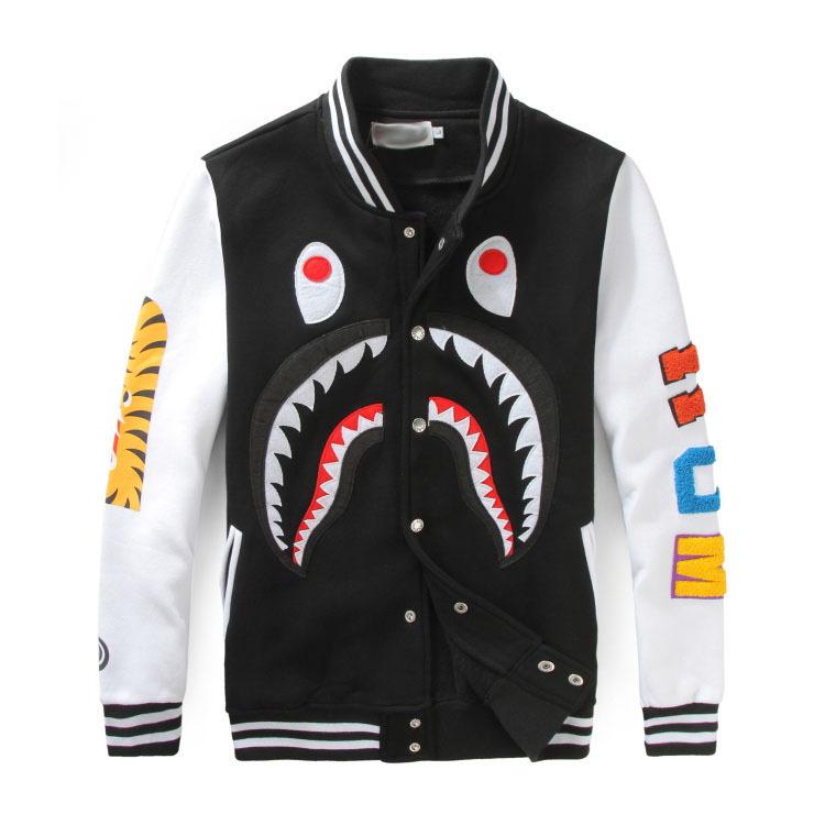 2015 Autumn And Winter new brand bape jacket WGM Shark mouth eyes print men fashion cotton Baseball uniform coat hip hop Clothes(China (Mainland))
