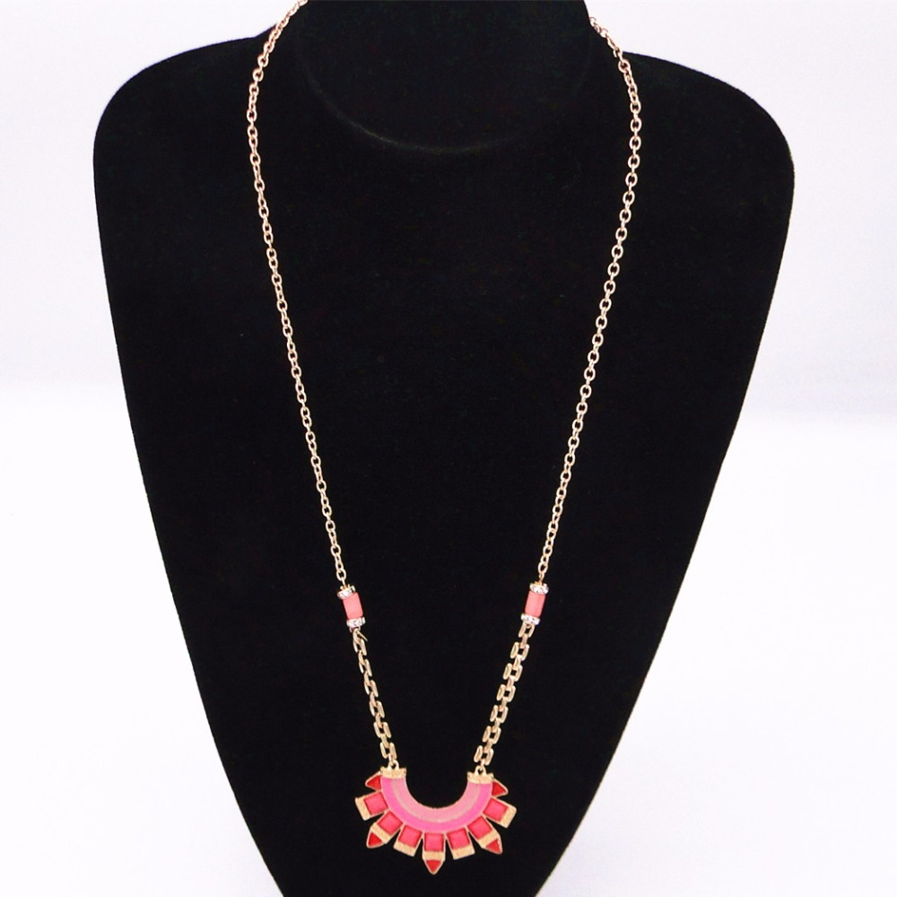 Europe United States foreign trade jewelry wholesale fashion simple red/blue enamel drip candy necklace Maxi long necklace(China (Mainland))