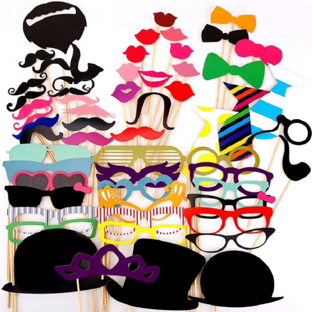 60Pcs Photo Booth Props Party Masks Hat Mustache Lip photobooth props Wedding Party Decoration Birthday Party Favor 2017 wedding(China (Mainland))