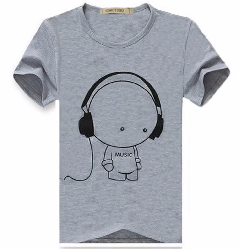 Headset Tshirt Homme Slim Fit T Shirt Men Cotton Mens T